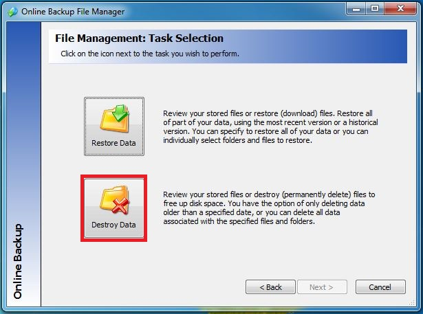 Backup for Files - How to Remove a Single Server or Purge