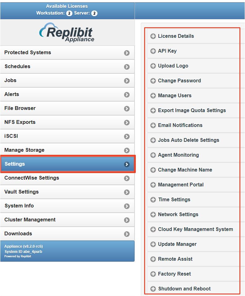 Replibit - Settings Menu - Managing Email Notifications, Logos and